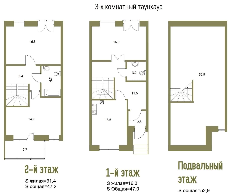 Планировка Четырёхкомнатная квартира площадью 143.3 кв.м в ЖК «Aurinko Бор»