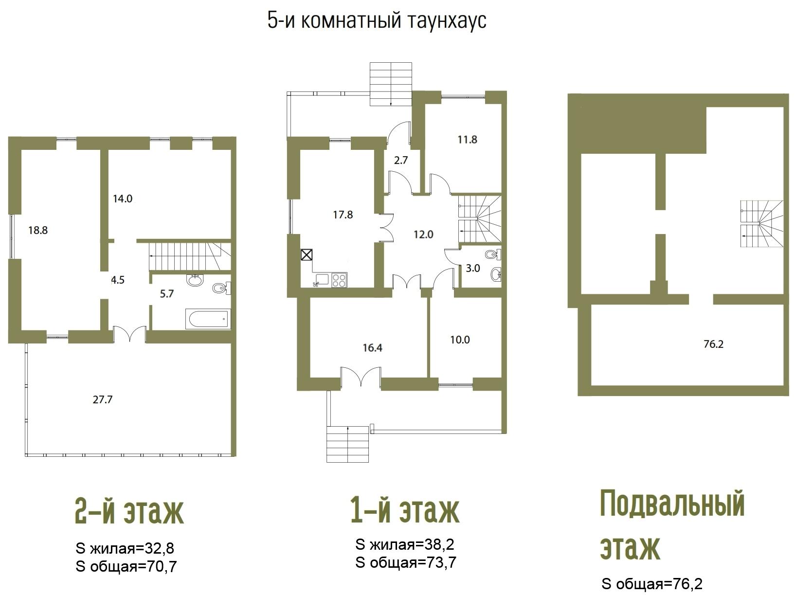 Планировка Шестикомнатные квартиры площадью 192.3 кв.м в ЖК «Aurinko Бор»